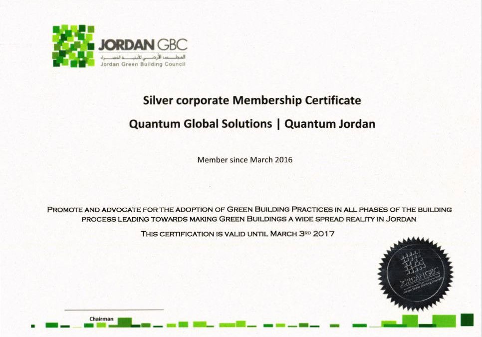 QGS Jordan becomes Silver Corporate Member of the Jordan Green Building Council